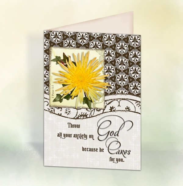 ccrl God Cares 5x7in Card display
